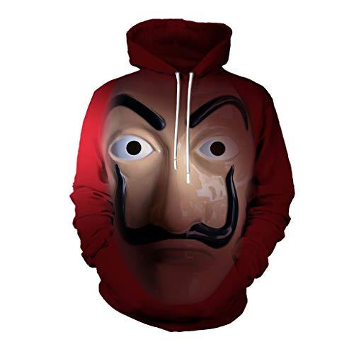 Sudadera Rojo con Capucha, Traje de La casa de Papel Disfraz de Ladrón 3D Salvador Dalí Suéter cómodo para Hombre y Mujer