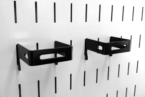 Wall Control Pegboard 2in x 2in C-Bracket Slotted Metal Pegboard Hook for Wall Control Pegboard and Slotted Tool Board – Black