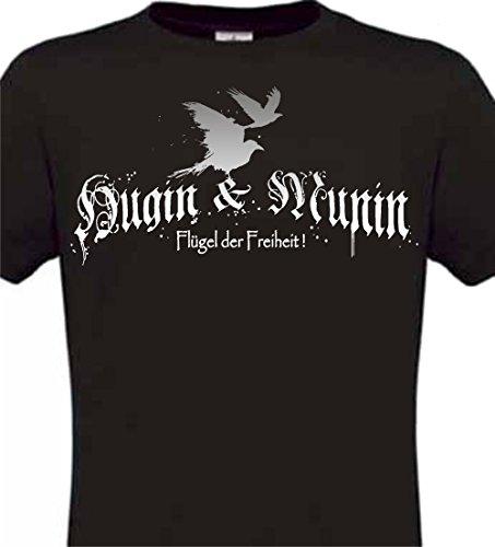 t Shirt Hugin Munin Raben Odin Wotan Walhalla Sleipnir Edda Wikinger Germanen SCHWARZ (XXL)