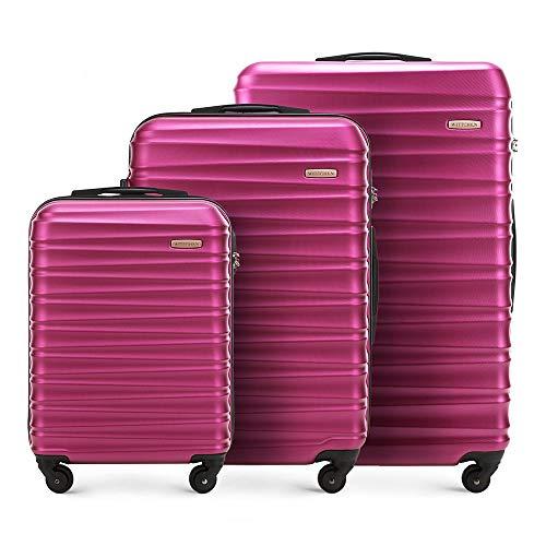 WITTCHEN Set di valigie avvolgibili solido Wittchen Carrello a conchiglia rigida in ABS con serratura a 4 ruote Rosa, 77 centimeters