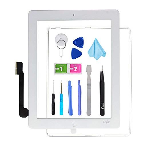 Tefir wit vervangend scherm voor iPad 3 A1416 A1403 A1430, iPad3 Touch Screen Digitizer Front Glass Assembly -Inclusief Home Button+Camera Bracket+Voorgeïnstalleerde lijm+Frame+Gereedschap Kit