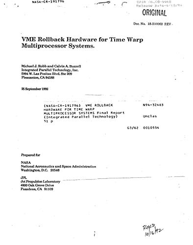 VME rollback hardware for time warp multiprocessor systems (English Edition)