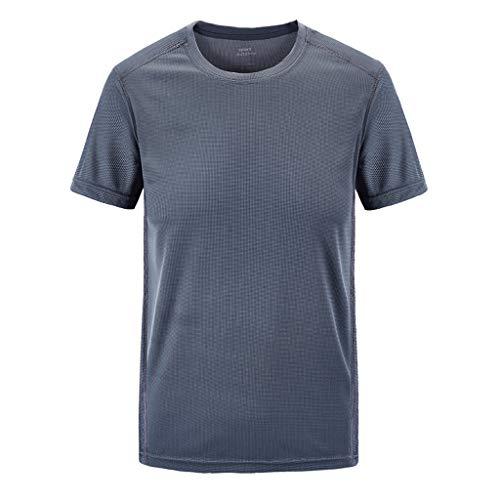 Kolila Herren Mens T-Shirt Tops Sport Schnell trocknend Atmungsaktives T Hemden Einfarbig Lose Rundhalsausschnitt Kurzarm Plus Size Übergroße M-7XL(Grau,4XL)