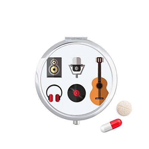 DIYthinker Gitaar Headset Cd Microfoon Muziek Patroon Reizen Pocket Pill Case Medicine Drug Opbergdoos Dispenser Spiegel Gift