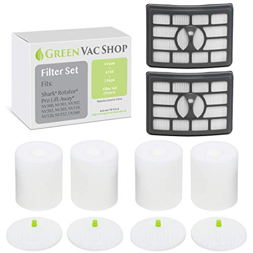 GreenVacShop 4+2 Pack Shark Rotator Professional Lift-Away NV500, NV501, NV502, NV503, NV505, NV510, NV520, NV552, UV560 Replacement Filter Set, 4 Foam+4 Felt+2 HEPA Filters, XFF500 XHF500