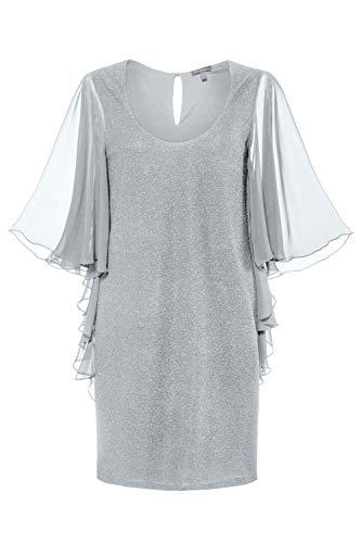 Ulla Popken Damen große Größen Übergrößen Plus Size Abendkleid, Metallic-Effekt, Chiffon-Flügelärmel Silber 50 719466 96-50