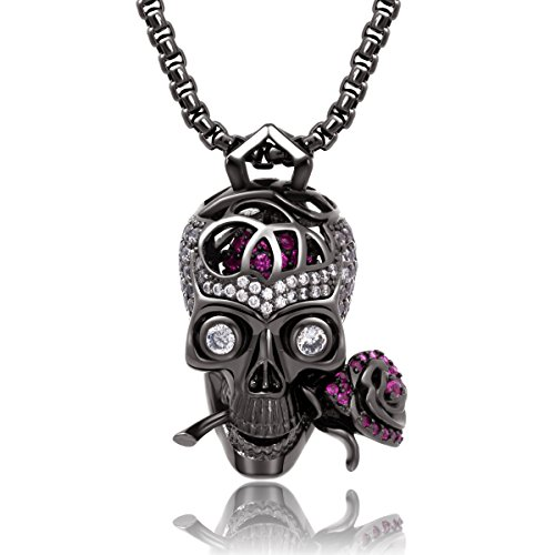 Karseer Gothic Filigree Sugar Skull and Everlasting Rose Charm Pendant Necklace with Crystal Brain Hidden Floating Inside, 24' Box Chain Matching Costume, Gun Black Jewelry Gift for Men and Women