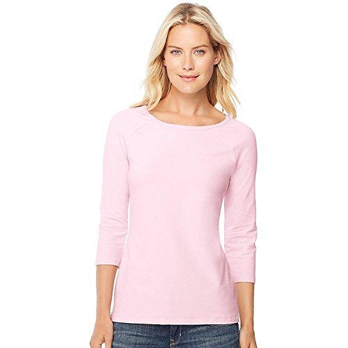 Hanes Women's Stretch Cotton Raglan Sleeve Tee, Paleo Pink, Small
