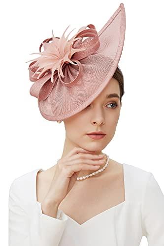 BABEYOND Kentucky Derby Hat Fascinator for Women Tea Party Fascinator Hat Pillbox Hat Feather Fascinator Headband (A-Nude Pink)