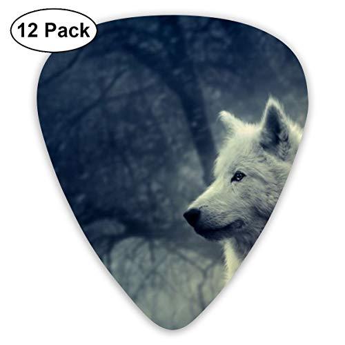 Gitaar Pick Witte Wolf Schilderij Behang 12 Stuk Gitaar Paddle Set Gemaakt Van Milieubescherming ABS Materiaal, Geschikt voor Gitaren, Quads, Etc