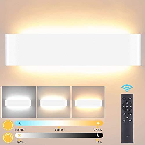 Lightess 24W Dimmable Applique Murale Intérieur LED Avec Télécommande 2.4G Applique Murale Moderne Tricolore Luminosité Réglable Mode Veilleuse pour Chambre Salon Couloir 40cm Blanc(2700K-6500K)