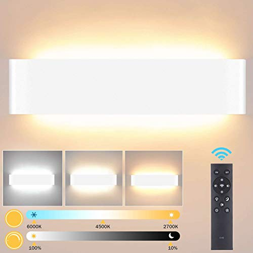 Lightess Apliques de Pared LED Regulable 24W 40CM Lámpara de Pared Interior Moderna Brillo Ajustable con 2.4G Control Remoto...