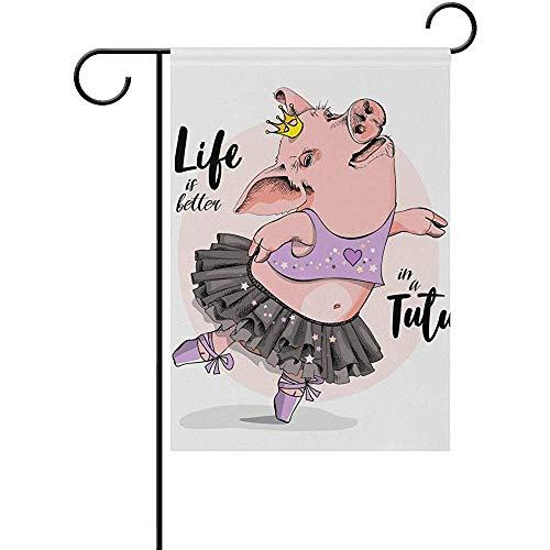 CHANGSHABF Yard Banner Tuin Vlag Dier Leuke Varken In Een Ballerina Rok 30X45Cm Verticale Dubbele Zijde Outdoor Welkom Yard Tuin Vlag Voor Patio Gazon Thuis Decor Party