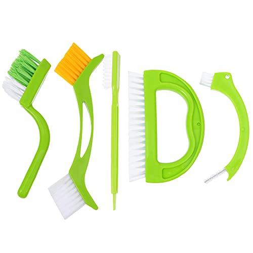 Angoily Juego de 5 Cepillos Limpiadores de Lechada Cepillo Limpiador de Juntas de Azulejos con Cerdas de Nailon para Lechada Suelos de Azulejos Baño Ducha (Verde)