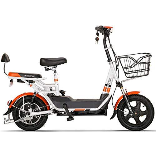 Elektrofahrrad Mountainbike Klapprad 14 Zoll,Mit 48V 12Ah Akku,Elektrische E-Bike MTB Für Herren Damen,Weiß