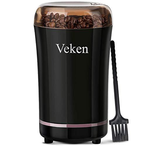 Koffiemolen Electric Spice & Nut Grinder met roestvrijstalen mes, los netsnoer koffiebonenmaalwerk voor Coffee Grounds, granen, 12 Cups (zwart),Zwart