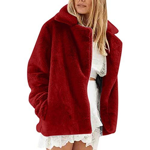 LIMITA Damen Mantel Mode Herbst Winter Langarm Jacke Warmer Plüsch Kurzmantel Revers Carigan Damen Strick Fleece Jacke Leichte Bomberjacke...