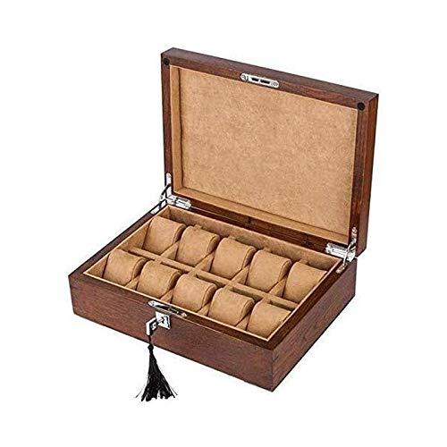 SSHA Joyero Caja de Almacenamiento de colección de visualización de Relojes mecánicos con Bloqueo de Madera de Madera Maciza Pura Organizador de Joyas