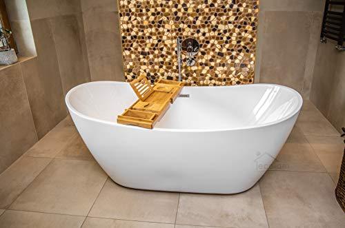ECOLAM exklusive freistehende Badewanne Standbadewanne moderne Wanne freistehend Clara 170x80 cm + Bambus Ablage + Ablaufgarnitur Click Clack Design Acryl glamour weiß