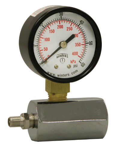 "Winters PET Series Steel Dual Scale Gas Test Pressure Gauge with Polycarbonate Lens, 0-60 psi/kpa, 2"" Dial Display, +/-3-2-3% Accuracy, 3/4"" FNPT Connection"