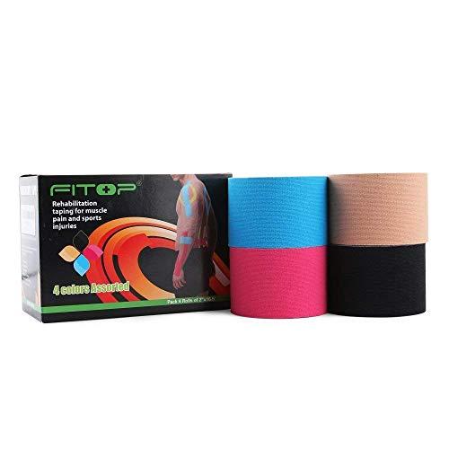 FITOP 4 Rouleaux de Bande de Kinésiologie 5cm X 5m Kinesiology Tape en Coton Assortiment de Couleurs
