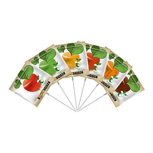 Ö-COOL-OGISCH Herz Lutscher, 100 flache Lollis in Herzform in 6 Geschmacksrichtungen, Papierstiel und kompostierbare Folie, 100x 5g, 500 g