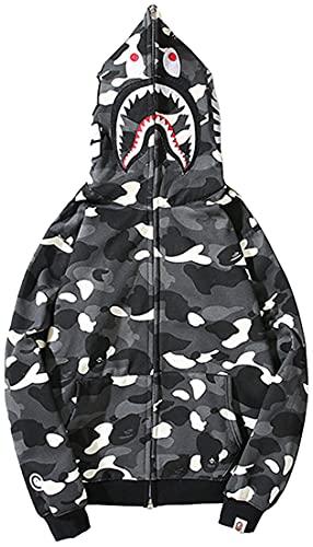 EUDOLAH BAPE Shark Ape Bape Hoodie Camo Print Sweater Casual Loose Jacket for Men Women Zip Up Black-White-a,Medium
