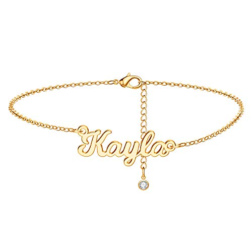 IEFSHINY Name Bracelet Personalized for Women Men, Kayla Block Name Bracelet Dainty 18K Gold Plate Bar Bracelet with Name Oval Chain Gifts for Birthday Valentine's Christmas Mother's Day