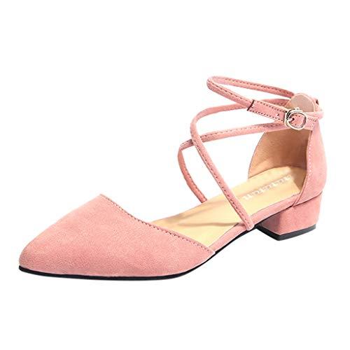 Qmber Frauen Wandern Sandalen Damen Outdoor Sommer Flach Cross Tied Beach Sport Wasser Schuhe Open Toe Verstellbare Dickes Wildleder Pointed Toe Sandals/Pink,36