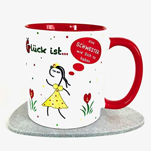 beste Schwester Geschenk Tasse mit Spruch Glückstassen rot