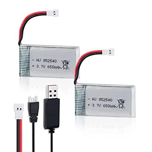 2PCS 3.7V 650mAh Lipo Batteria with USB Charger for RC UAV Drone Vehicle Syma Heliway Skytech Cheerson MJX & 8520 Motors