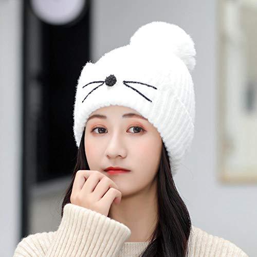 xinghui Kurzhaarhut,Damen Strickmütze,Modische Wollmütze mit kugelgestrickter Warmer Mütze-Weiß_Hut + Lätzchen