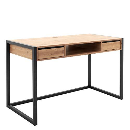Newfurn Schreibtisch Klein Anthrazit Wildeiche Computertisch Vintage Industrial - 120x75x60 cm (BxHxT) - PC Tisch Laptoptisch - [Vincent.Four] Wohnzimmer Schlafzimmer