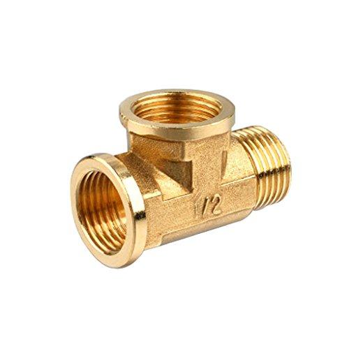 perfk 1 Stück 1/2-Zoll T-Verbindungsstück 3-polige Messing-Buchse T-Stück T-Stück Rohrverbinder Rohranschluss