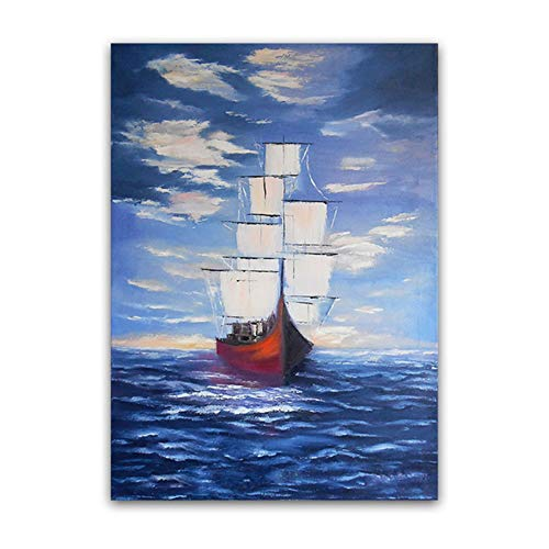 YIYAOFBH Abstrakte Leinwand Gemälde Meer Wellen Kunst Poster Drucken Segelboot Landschaft Wand Kunstdrucke Bild Home Room Decor-60x90cm Rahmen