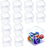 Amersumer 20Pack Plastic Clear Box with Separate Lid,2.2x2.2x2 Inchs,Beads Storage Containers Square Clear Containers Box for Pills Herbs Tiny Bead Earring Jewerlry Candy Gifts Party Favor and More