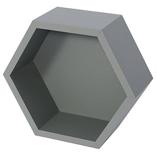 B!Organised, Dekorative Regalelemente, Honeycube, Hexagon, 1 Stück, Grau, 1190460
