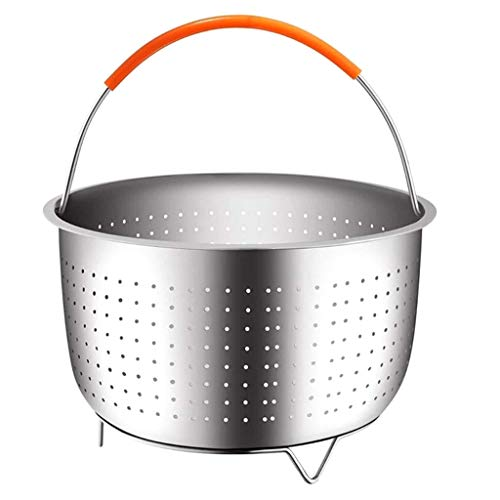 Fanxing Original Sturdy Steamer Basket for 3 or 5 Quart Instant Pot Pressure Cooker, 18/8 Stainless Steel Steamer Insert with Silicone Covered Handle, for Steaming Vegetables Fruit (Silver, 6 Qt)