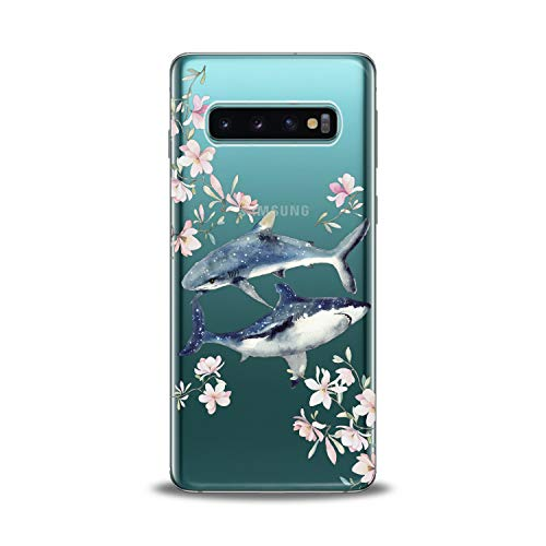 Anreda Silicone Phone Case for Samsung Galaxy S20 S10 5G Note 10 Plus S9 S8 S7 Teen Cute Floral Cute Cover Whale Love Design Art Shark Smooth Print Soft Fish Slim fit Flexible Girls Clear Flowers