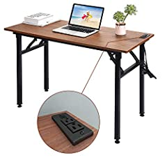 Smart Computer Desks with Power Outlet -- The branded office writing desk comes with outlet plugs ( 2 charging port & 2 power sockets). Tidy up your desk and rooms! Sturdy Folding Writing Desks -- Made of high-qualified MDF (CARB approval), the compu...