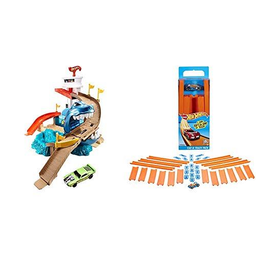 Hot Wheels BGK04 City Color Shifters Hai-Attacke Spielset & BHT77 Track Builder Gerade Rennbahn Set, Trackset Zubehör mit ca. 4,5 m Länge und 18 Trackverbindungen inkl. 1 Spielzeugauto, ab 6 Jahren
