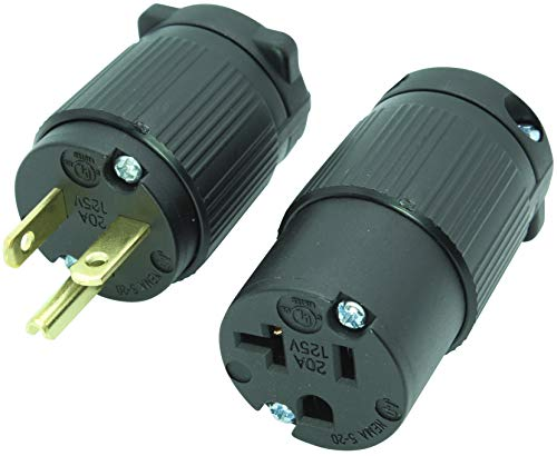 Journeyman-Pro 520PC Plug & Connector Set 20 Amp 120-125 Volt, NEMA 5-20P + 5-20C, 2Pole 3Wire, Straight Blade, Male & Female Replacement Cord End, Commercial Grade PVC (1)