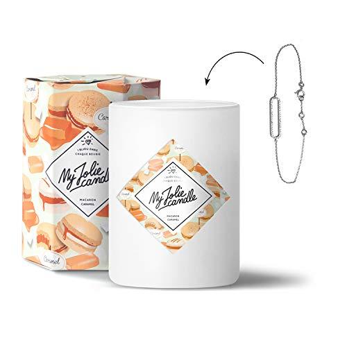 MY JOLIE CANDLE - Bougie parfumée avec Bijou Suprise à l'intérieur - Bijou : Bracelet en Argent - Parfum : Macaron Caramel - Cire Naturelle végétale - 330g - 70h Combustion