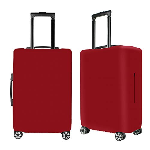 Washable Luggage Cover Spandex Suitcase Cover Protective Fits 19-33inch Luggage Zipper Carry On Covers Wine Red