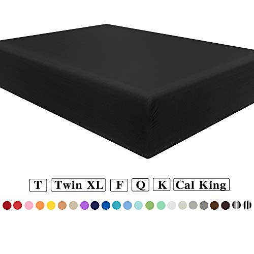 NTBAY Microfiber Twin Extra-Long Fitted Sheet, Wrinkle, Fade, Stain Resistant Deep Pocket Bed Sheet, Black