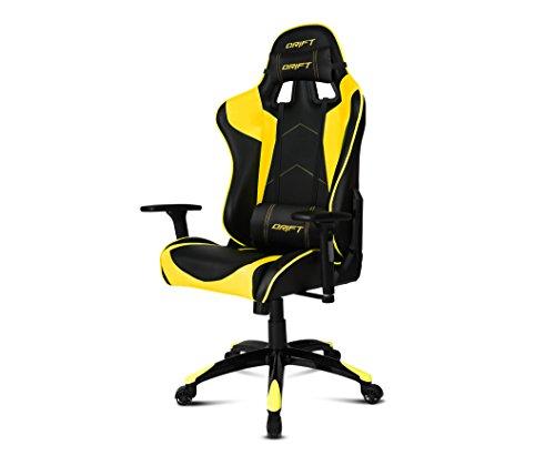 Drift DR300BY - Silla Gaming profesional, polipiel, reposabrazos 3D, piston clase 4, asiento basculante, altura regulable, respaldo reclinable, cojines lumbar y cervical, color negro/amarillo