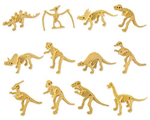 SCSpecial 12 Stück Dinosaurier-Fossilien für Kinder Verschiedene Dino-Knochen-Skelett-Spielzeugfiguren PVC Für die Wissenschaft Spiel Belohnungen Dino Sand Dig Mitbringsel