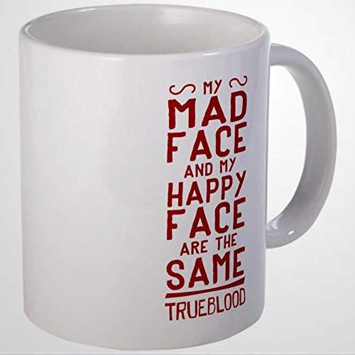 Taza de café divertida de Pam True Blood Mad Face Tazas de café de cerámica de 325 ml, mejor regalo o recuerdo para hombres y mujeres, festival de cumpleaños, Navidad