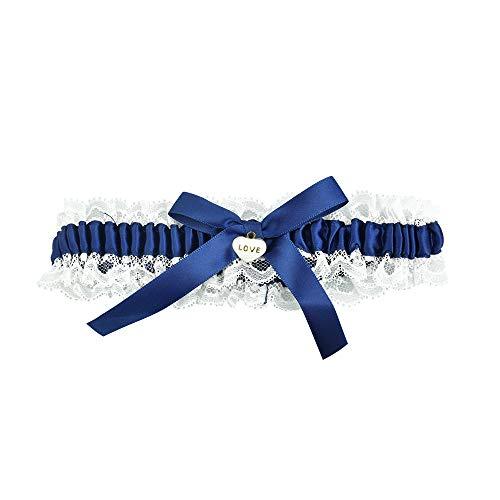 Giarrettiera da sposa in pizzo, giarrettiera nuziale giarrettiera nuziale Giarrettiera bianca per matrimonio, festa, decorazione per le gambe (blu)