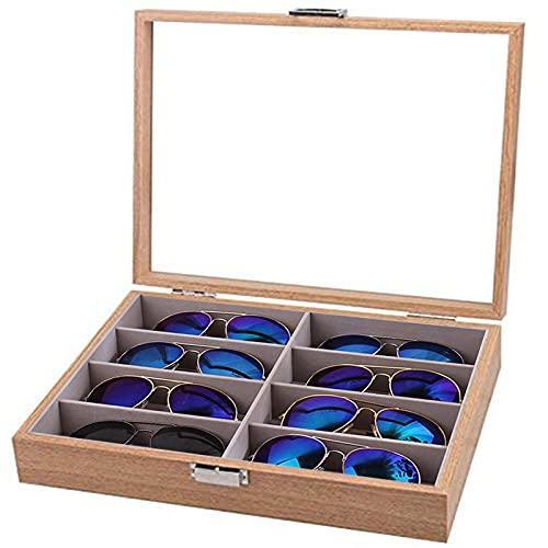 Chytaii - Caja de madera para guardar gafas de sol, exquisita y duradera, con tapa de cristal enmarcada, para hombres y mujeres